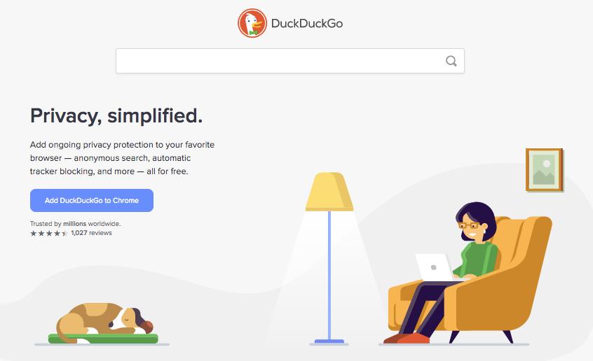 DuckDuckGo home page
