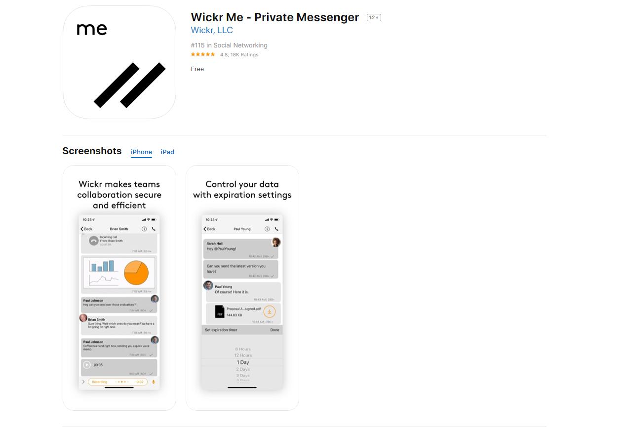 Wickr Me app