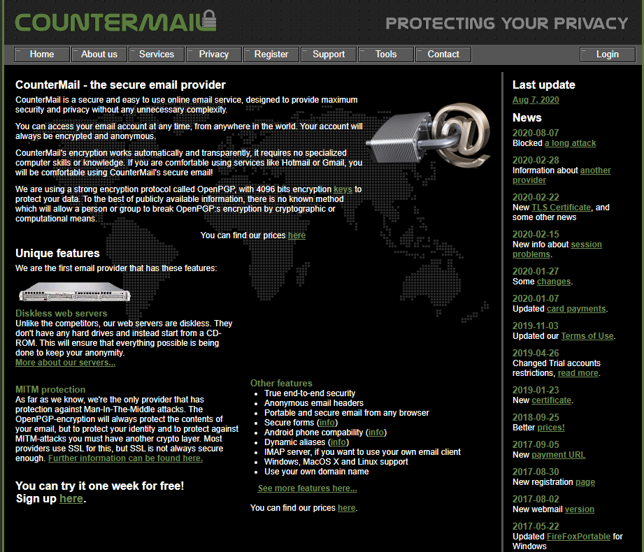 Countermail homepage
